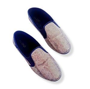 ALDO Black & Gold Glitter Slip-On Flats